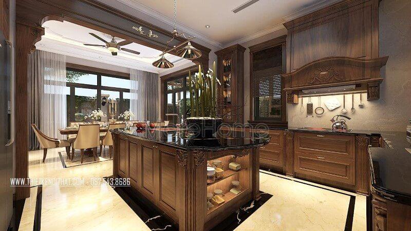 Thiết kế tủ bếp gỗ óc chó hiện đại đẹp